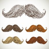 Classic retro twisted mustache set
