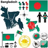 pic of bangla  - Vector of Bangladesh set with detailed country shape with region borders flags and icons - JPG