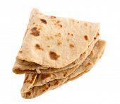 Chapati, chapathi, chapatti or flatbread, famous indian basic food isolated on white background.