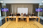 MOSCOW - SEP 27: Press conference of artists and organizers of grand presentation of our time - show