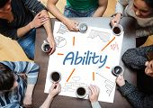 Ability written on a poster with drawings of charts during a brainstorm