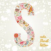 The letter S. Bright floral element of colorful alphabet made ??from birds, flowers, petals, hearts