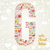 The letter G. Bright floral element of colorful alphabet made ??from birds, flowers, petals, hearts