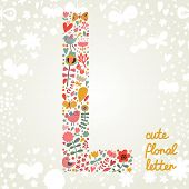 The letter L. Bright floral element of colorful alphabet made ??from birds, flowers, petals, hearts