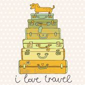 I love travel. Travel conceptual card with nice suitcases in vector. Summer holiday with dachshund
