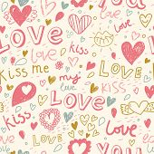 Romantic seamless pattern with hearts, lips. Valentines day decoration texture. Love concept. Weddin