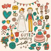 Wedding vector set. Cartoon illustration about marriage. Save the date invitation card with bride an
