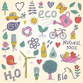 Ecology concept vector set in vector. Eco elements, wind power plant, tree, car, bicycle, lightbulb,