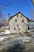 Typical Canadian fieldstone House Frelighsburg, Quebec, Canada