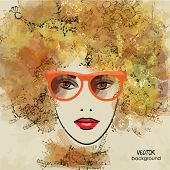 art colorful sketching beautiful girl face in eyeglasses on sepia background