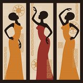 stock photo of triptych  - Vector picture of African American woman - JPG