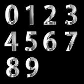 Silver 3D numbers isolated on black
