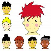 Set Of Cute Multicultural Boy And Girl Faces Illustration Vector.