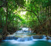image of cataract  - Deep forest Waterfall in Kanchanaburi Western of Thailand - JPG