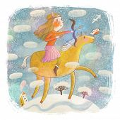 Zodiac sign - Sagittarius. Part of a large colorful cartoon calendar. Sweet girl on horse with bow o