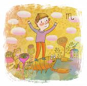 Zodiac sign - scorpio . Part of a large colorful cartoon calendar. Cute boy and scorpion in pastel c