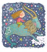 Zodiac sign - Capricorn. Part of a large colorful cartoon calendar. Cute girl in dreams. Cartoon ill