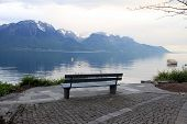 Wooden Bench At Alpen Lake In Montreux (Switzerland)