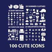 cute icons, furniture, vacation, travel, summer clothes, baby birthday icons, signs, symbols set, vector