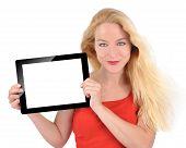 Glücklich Technologie weiblich weiß Tablet festzuhalten