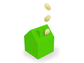 image of save money  - green house with money - JPG