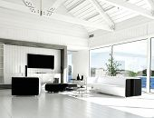 A 3D rendering of modern white living room with huge windows