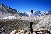 Rear View of Hiker in standing the Khumbu Valley with the Himalayan Mountain Range in background nea