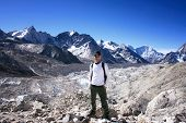 Hiker standing the Khumbu Valley with the Himalayan Mountain Range in background near Gorak Shep in
