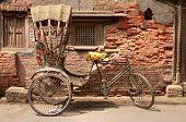 stock photo of rickshaw  - Old bicycle rickshaw in Kathmandu - JPG