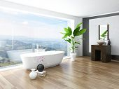image of window washing  - Modern Bathroom interior with white bathtub against huge window with landscape view - JPG