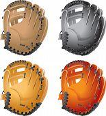 Várias luvas de beisebol