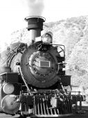 image of chug  - Vintage steam driven engine in black and white - JPG