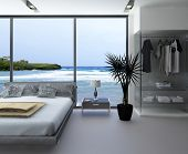 picture of master bedroom  - Ultramodern bedroom interior with grey bed against panorama windows with seascape view - JPG