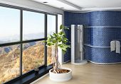 Modern Bathroom interior with blue colored wall and shower cubicle