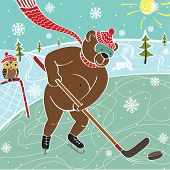 Brown Bear Hockey In Nature.Vector humorous Illustration