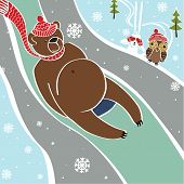 Brown Bear Is Rolling On Sleds.Vectorhumorous Illustration