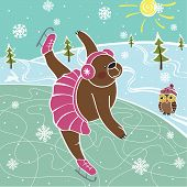 Brown Bear Skating On The Skating Rink.Vector humorous Illustrations