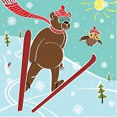 Brown Bear Ski Jumping. Vector humorous Illustration