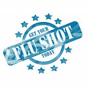 picture of flu shot  - A blue ink weathered roughed up circle and stars stamp design with the words Get Your FLU SHOT Today on it making a great concept - JPG
