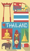 vector illustration set of famous cultural symbols of thailand on a poster or postcard