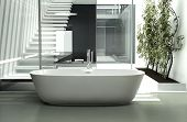 Modern luxury bathroom interior with white bathtub against glass wall
