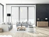 stock photo of household  - Black and white colored Living Room with floor to ceiling windows - JPG