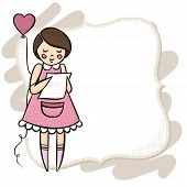 stock photo of centerpiece  - Little girl reading a letter with a heart shaped balloon standing pose on empty frame with place for your text love romantic Valentine s Day card illustration centerpiece isolated on white background - JPG