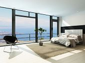 stock photo of nice house  - Contemporary modern sunny bedroom interior with huge windows - JPG
