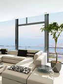 Modern white living room interior with splendid seascape view