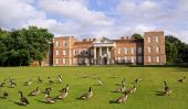 Old building / mansion view across grass lawn with canada geese