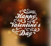 Happy Valentine's Day Design. Blurred Soft Background with Hand Lettering. Typographical Holiday Ill
