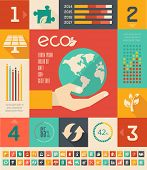 Flat Infographic Elements. Opportunity to Highlight any Country on the World Map. Vector Illustratio
