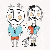 Mister and madam hipster illustration in vintage tennis outfit postcard cover design in vector
