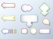 Arrows vector set with colored outlines